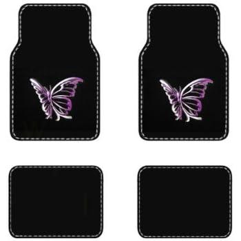 BDK Universal Fit Carpet Floor Mat - (Purple White Butterfly)
