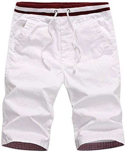 Guoji Men's Flat Front Shorts Slim Fit Chino Short Pants for Men (32, (Mens Shorts Short Pants)