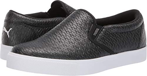 Puma Golf Women's Tustin Slip-On Golf Shoe Black-Puma White, 10.5 M US