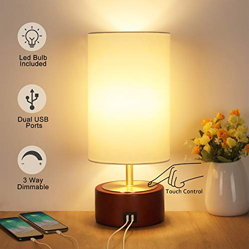 USB Table Lamp, Boncoo Bedside Touch Control Lamp with 2 USB Charging Ports, Dimmable Minimalist Solid Wood Nightstand Lamp Round Fabric Shade for Bedroom Dresser Living Room, A19 6W LED Bulb Included