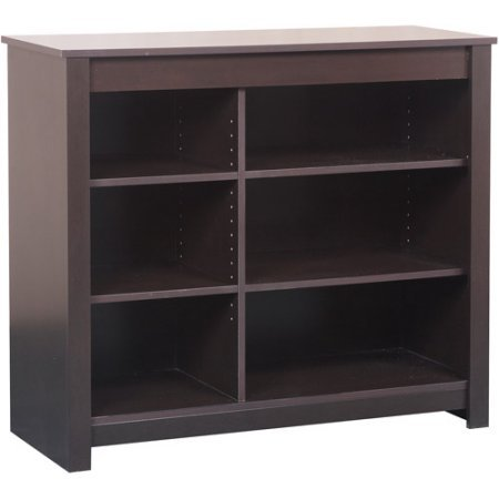 Espresso Bookcase and TV Stand, Living Room Furniture, Bookstand, Classic Style, Made of Laminated Particle, Large Space Storage, Six Adjustable Shelves, Espresso Finish, Bookshelf, BONUS e-book (Space Bookcase With Tv)