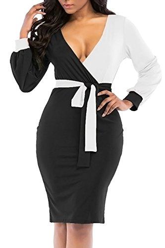 JOSIFER Womens Elegant Vogue Long Lantern Sleeve Waist Belt Sexy Party Wedding Bodycon Club Skirt Dress Black,L