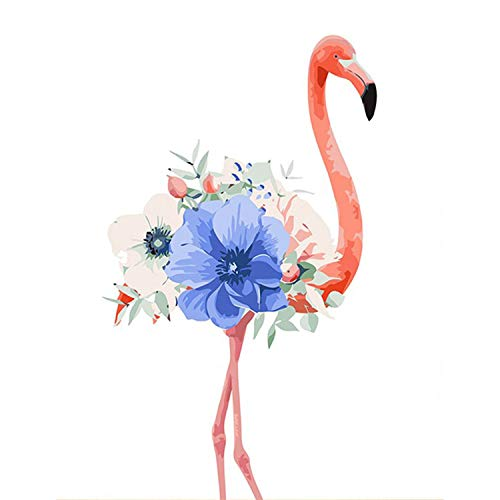 Oil Painting by Numbers Flower Acrylic Paint Wall Painting Flamingo Picture Coloring by Numbers on Canvas Home Decor,40X50 cm no Framed,w3073