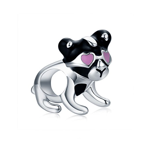 Everbling Lovely Dog Puppy with Pink Heart Sunglasses 925 Sterling Silver Bead Fits European Charm Bracelet