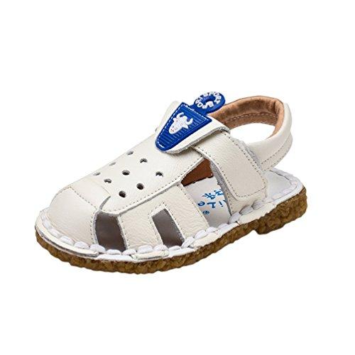 CHENGYANG Baby Jungen Nette Karikatur Geschlossene Fastening Sandale T-Strap Lauflernschuhe Schuhe Weiß