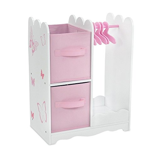 18 Inch Doll Furniture | Beautiful Pink and White Open Wardrobe Closet with Butterfly Detail Comes with 5 Doll Clothes Hangers | Fits American Girl Dolls (American Doll Closet)