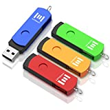 16GB USB 2.0 Flash Drive 4 Pack with LED Light, A Set of 16 GB 360° Rotation Thumb Drives with Keychain, 16gig Multipack Jump Drive for Computer (Multicolor) by MOSDART
