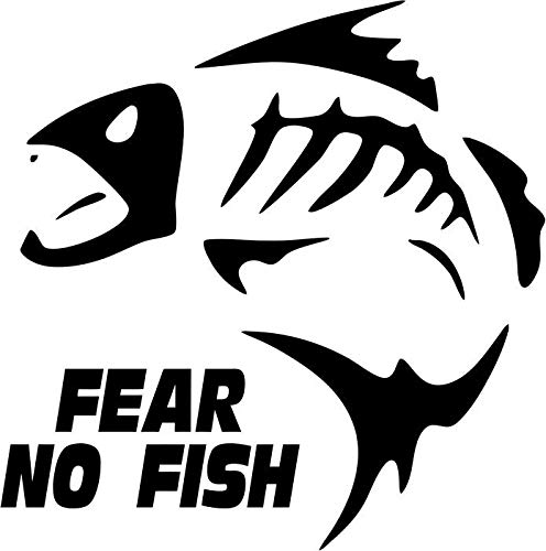 BEARGRAPHIX Fear No Fish Fishing Sportsman Decal Sticker Car Motorcycle Truck Bumper Window Laptop Wall Décor Size- 6 Inch Wide Gloss Black Color