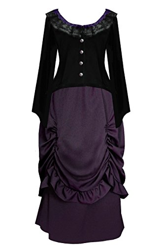 Cykxtees Victorian Steampunk Gothic Civil War Theater Women's Top & Skirt (L, (Exquisite Fit Lace Up Corset)