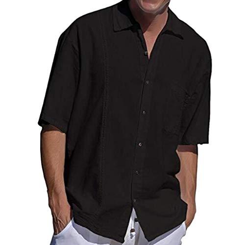 (VEZAD Men's Summer Cotton Hemp Pocket Button Lapel Short Sleeve Fashion Shirt D Black)