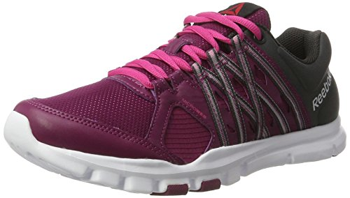 Reebok Yourflex Trainette 8.0, Zapatillas de Gimnasia Para Mujer Morado  (Rebel Berry / Coal / Rose Rage / White)