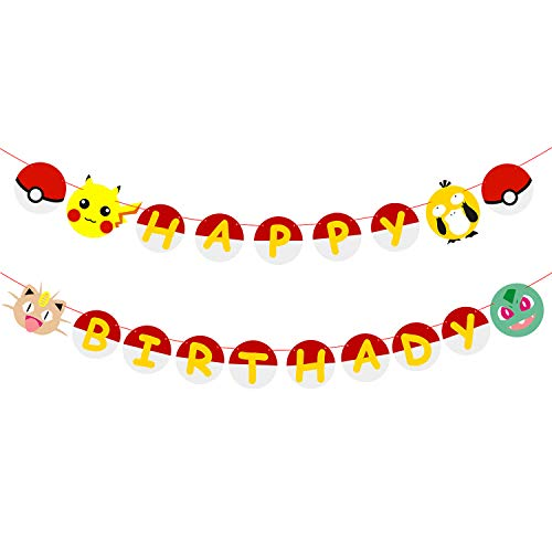 MALLMALL6 Happy Birthday Banner Pikachu Birthday Party Supplies Video Party Banner Themed Party Wall Decorations for Kid, Boy and Girl