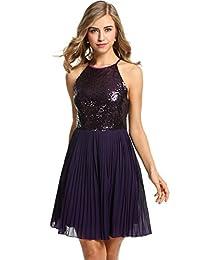 ANGVNS Women Sleeveless Halter Sequins Chiffon Patchwork Party Slim A-line Dress