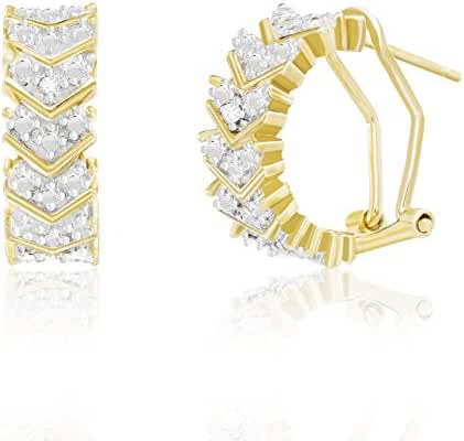 Lumineux Diamond Womens V Design Diamond Accent Post Clip Hoop Earrings with Gold Plated Brass