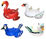 Giant Inflatable Flamingo, Swan, Jay, Owl Bird Pool Float Raft (4 Pack) with Ebook