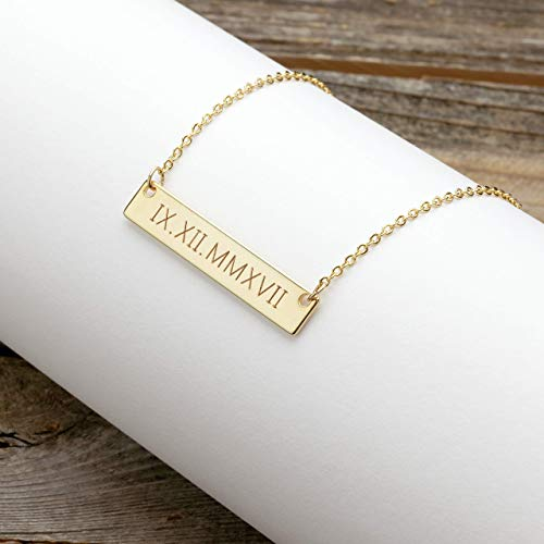 14k Date Necklace - A Roman Numerals Wedding Date Necklace Engraving Special date Personalized Christmas gift Wedding Gift special date - 4N-RN