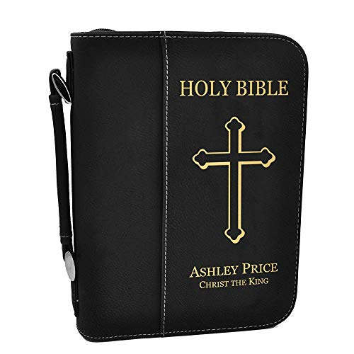 Custom Bible Cover | Holy Bible Cover with Cross | Personalized - Black ()