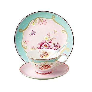 JSAron Vintage Rose Porcelain4-Piece Teacup, Saucer, spoon and Plate Set