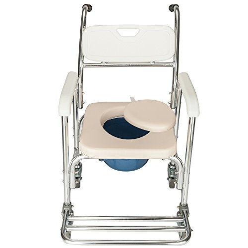 - Mefeir Transportabl Commode Chair with Padded Seat and Wheel, Professional Design, Removable 4 in 1 Multifunctional Bath Chair for Toilet, 300 LBS Heavy Duty, Suitable for Elder Disabled and Pregnancy