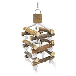 Niteangel 3-level Parrot Climbing Tower, Wooden Bird Swing