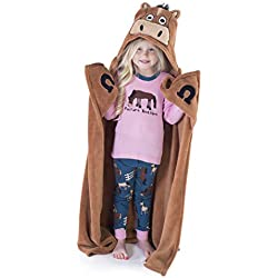 Horse Blanket Childrens Hooded Animal Critter Blankets by LazyOne   Childrens Dress Up Large Travel Blanket (ONE Size)