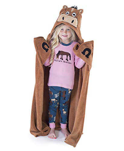 Horse Blanket Childrens Hooded Animal Critter Blankets by LazyOne | Childrens Dress Up Large Travel Blanket (ONE Size)
