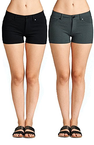 Emmalise Women's Summer Casual Stretchy Low Rise Booty Shorts, Black Charcoal 2Pk, -