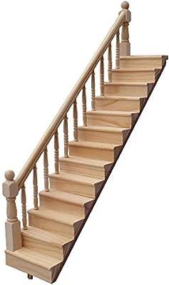 ZZM 1:12 Dolls House Escalera de Madera con barandilla Izquierda ...