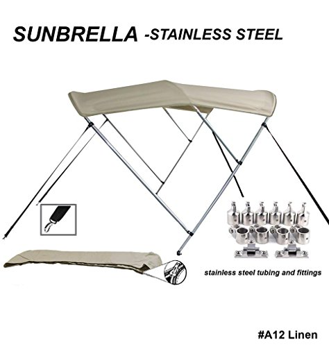 TOP of The LINE Stainless Steel-Sunbrella 9.25oz 3 Bow Round Tube Boat Bimini Top-Sun Shade 97