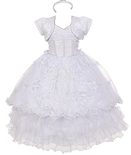 Little Baby Girls' Virgin Mary Ruffle Detachable Baptism Dresses White Size 3 by Pepi Dreamer