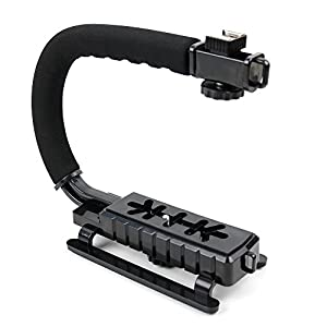 Soft Grip Handheld Action Camera Stabiliser With Stereo/Flash Mount For The PowerLead Puto PLD003 Mini - By Duragadget