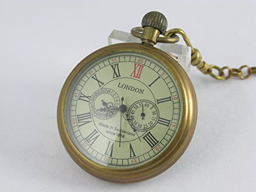 VIGOROSO Men's Vintage Full Copper Hand-wind Mechanical Second&24hours Sub-dials Pocket Watch in box by VIGOROSO (Image #1)