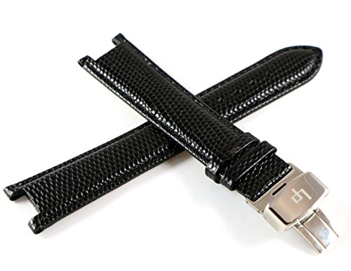 Lucien Piccard 20MM Black Genuine Leather with Alligator Grain/Texture Watch Band & Stainless LP Butterfly Clasp. Notched Ends.