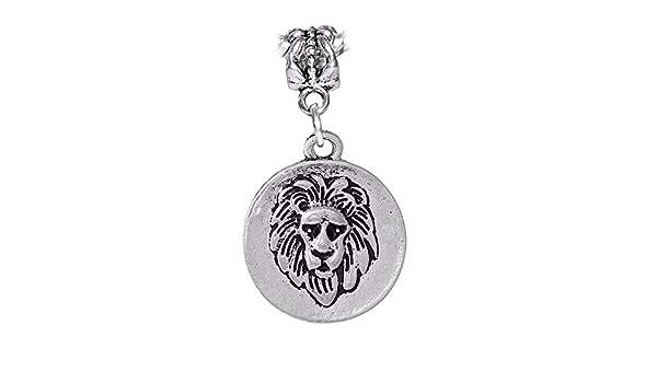 Lion Face Medallion Africa Safari Animal Dangle Charm for European Bead Bracelet