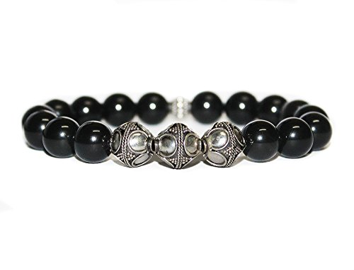 Men's Obsidian and Sterling Silver Bali Beads Bracelet