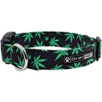 Pot Leaf Collar for Pets Size Medium 3/4 Inch Wide and 13-20 Inches Long - Hand Made Dog Collars by Oh My Paw'd
