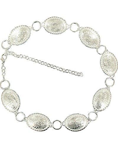 Silver Concho Belt (Nocona Women's Oval Concho Chain Belt Silver)