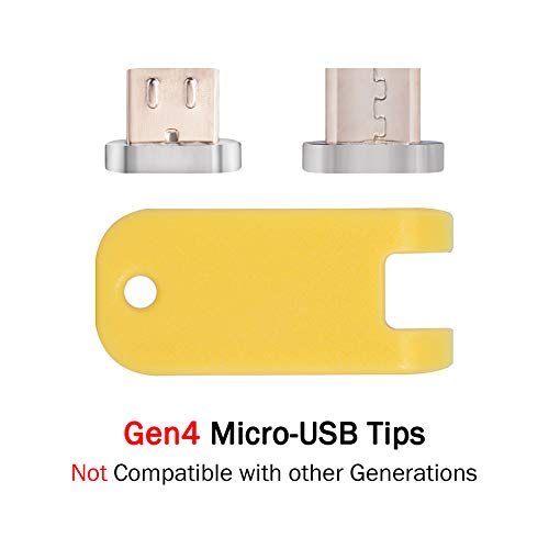 Smart&Cool Gen4 Magnetic Micro-USB Tips/Connectors (The Little end That goes into Phone) for Android Phone and Tablets (not Compatible with Gen3/Gen5)(Twin-Pack Plugs for Android Products)