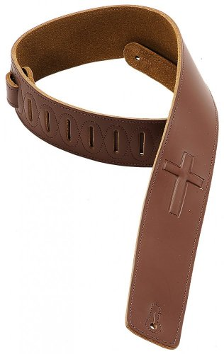 (Levy's Leathers DM1SGC-BRN 2.5-inch Leather Strap with Embossed Cross,Brown)