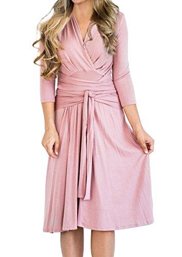 Imily Bela Womens Plain Creased 3/4 Sleeve High Waist Cocktail Wrap Midi (3/4 Sleeve Cotton Wrap)
