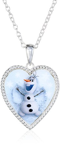 Disney Girls' Frozen Sterling Silver-Plated Olaf Heart Pendant Necklace