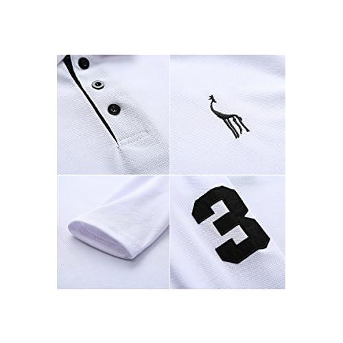 9025c284f47 Chic YCHENG Hombre Polo Manga Larga Moda Lujo Jirafa Bordado Contraste  Collar Golf Camiseta