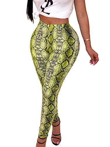 ALLUMK Sexy Leggings Snakeskin Printed High Waisted Pants Bodycon Trousers with Invisible Zipper Green M