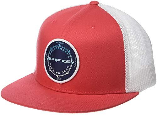Columbia Unisex PFG Mesh Flat Brim Ball Cap, Sunset Red, PFG Compass, Large/X-Large