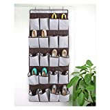 iTIDY Over The Door Shoe Organizer, Durable Canvas,20 X-Large Reinforced Pockets Shoe Storage, Space Saving Hanging Shoe Organizer Shoe Rack Strong Metal Hooks