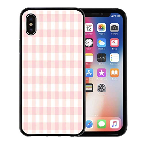 - Emvency Phone Case for Apple iPhone Xs case,Red Check Pastel Pink Plaid Gingham Checkered Pattern Cute Picnic Abstract for iPhone X Case,Rubber Border Protective Case,Black