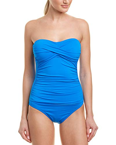 Anne Cole Women's Twist Front Shirred One Piece Swimsuit, New Blue, 12 Bandeau One Piece Suit