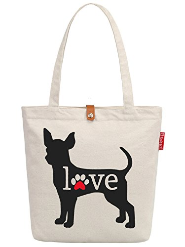 So'each Women's Love Dog Letters Graphic Top Handle Canvas Tote Shoulder Bag