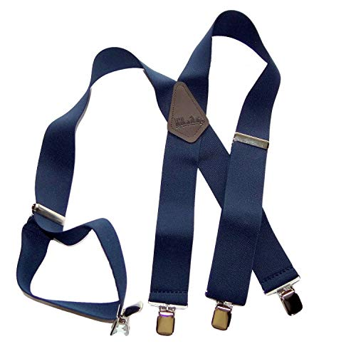 Holdup Brand Extra Long XL Dark Navy Blue X-back work Suspenders with Patented Jumbo Silver No-slip Clips