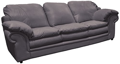 Omnia Leather Santa Barbara 3 Cushion Sofa in Leather, Standard No Nail Head, Guanaco Granite